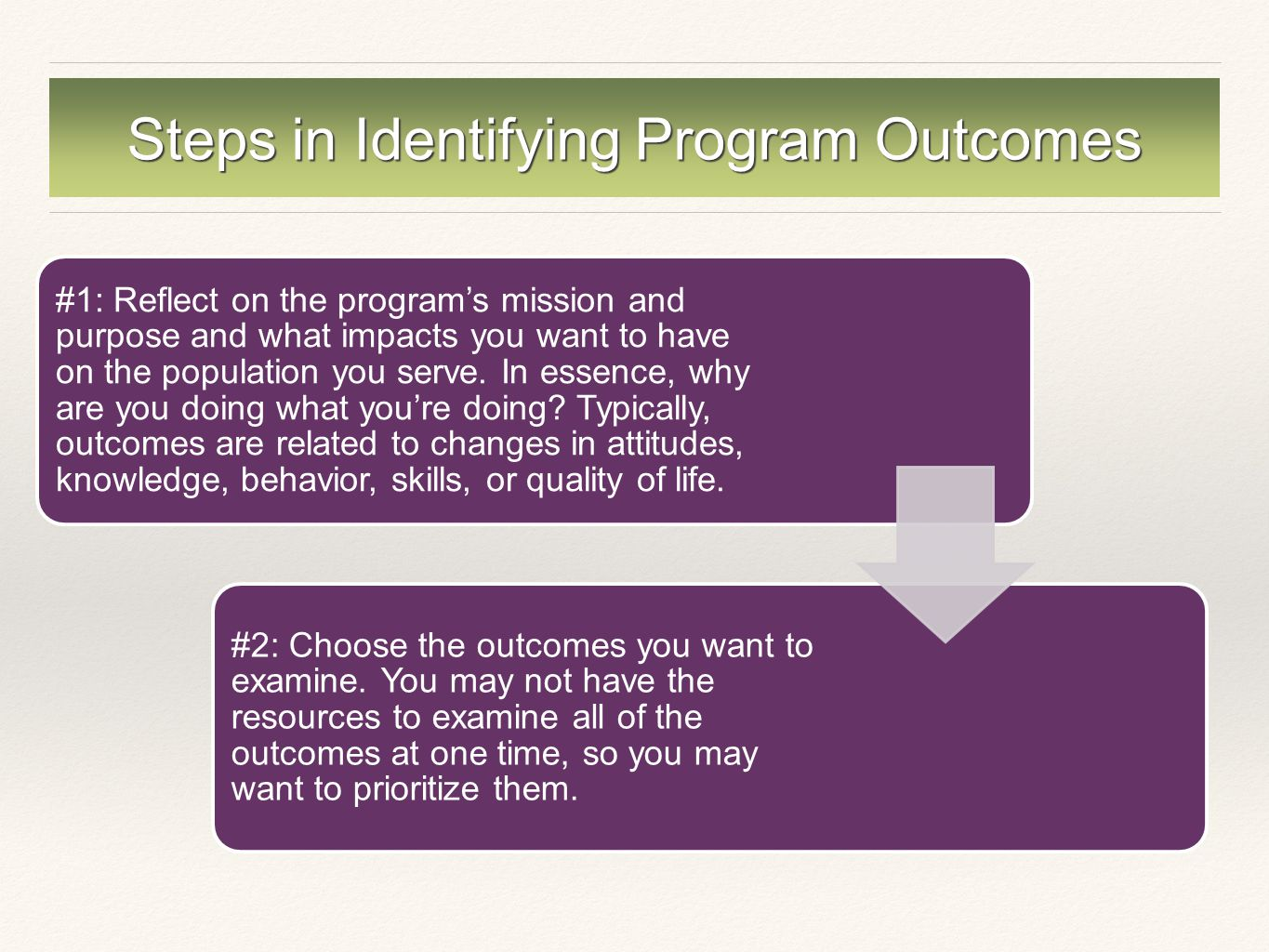 Steps in Identifying Program Outcomes #1: Reflect on the program's mission and purpose and what impacts you want to have on the population you serve.