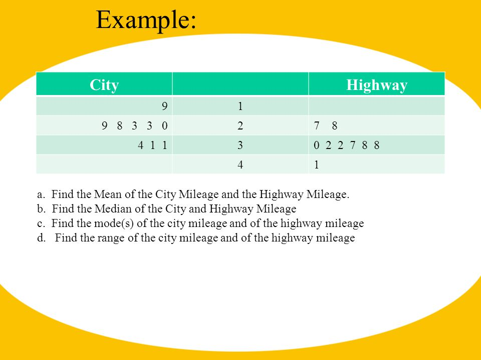 Example: CityHighway 91 9 8 3 3 027878 4 1 130 2 2 7 8 8 41 a. Find the Mean of the City Mileage and the Highway Mileage. b. Find the Median of the Ci