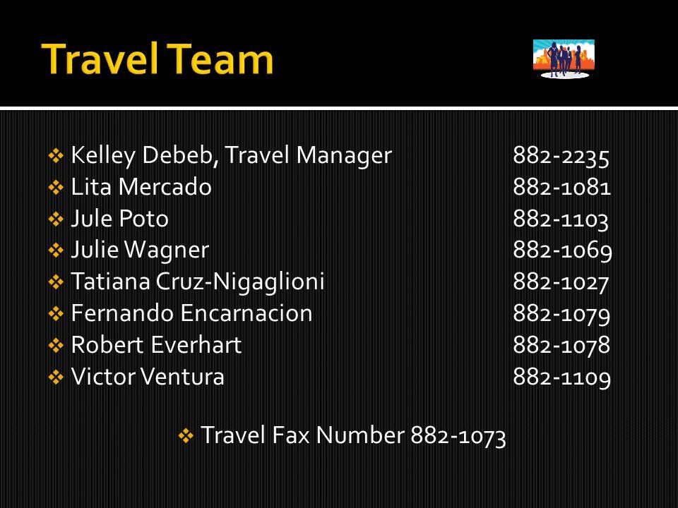  Kelley Debeb, Travel Manager 882-2235  Lita Mercado882-1081  Jule Poto882-1103  Julie Wagner882-1069  Tatiana Cruz-Nigaglioni882-1027  Fernando Encarnacion882-1079  Robert Everhart882-1078  Victor Ventura882-1109  Travel Fax Number 882-1073