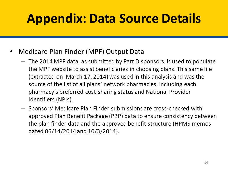 Medicare Plan Finder (MPF) Output Data – The 2014 MPF data, as submitted by Part D sponsors, is used to populate the MPF website to assist beneficiaries in choosing plans.
