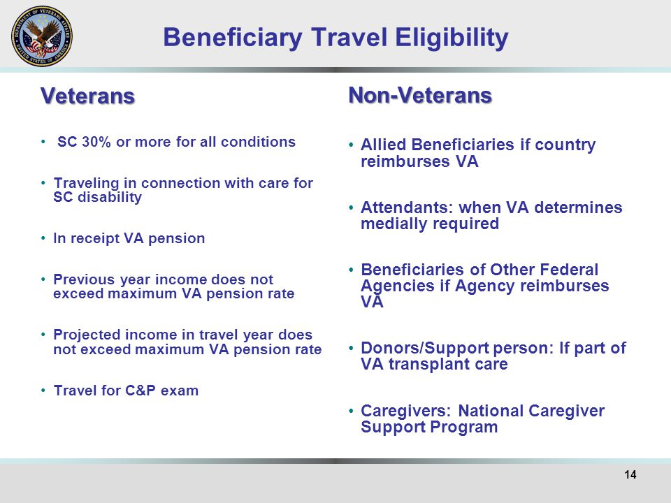 Beneficiary Travel Eligibility Veterans SC 30% or more for all conditions Traveling in connection with care for SC disability In receipt VA pension Pr