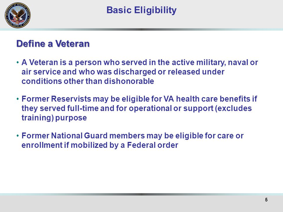 6 Character of Service: Veterans with Honorable, General or Under Honorable Conditions character of discharge are eligible for VA health care benefits as long as minimum duty requirements are met Veterans given Other than Honorable (OTH) discharges and those upgraded from OTH to General require VARO review and decision before routine care may be provided