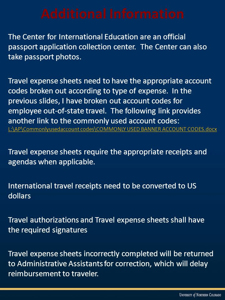 Additional Information The Center for International Education are an official passport application collection center.