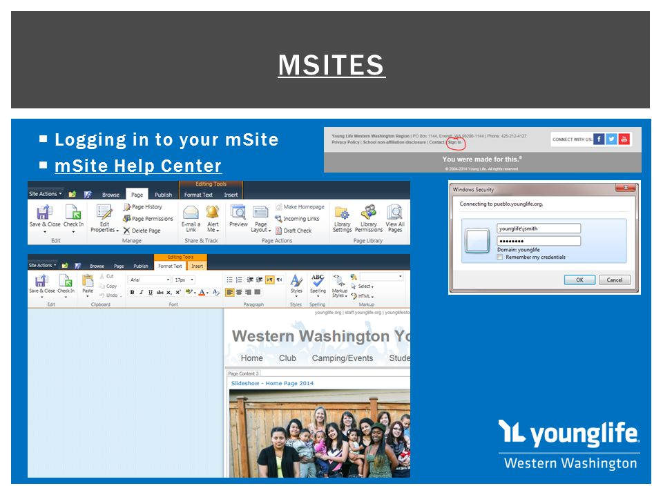  Logging in to your mSite  mSite Help Center mSite Help Center MSITES