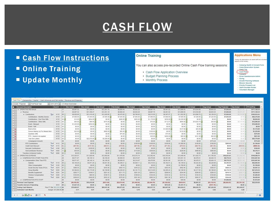  Cash Flow Instructions Cash Flow Instructions  Online Training  Update Monthly CASH FLOW