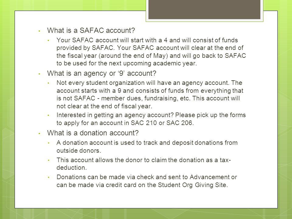 What is a SAFAC account.