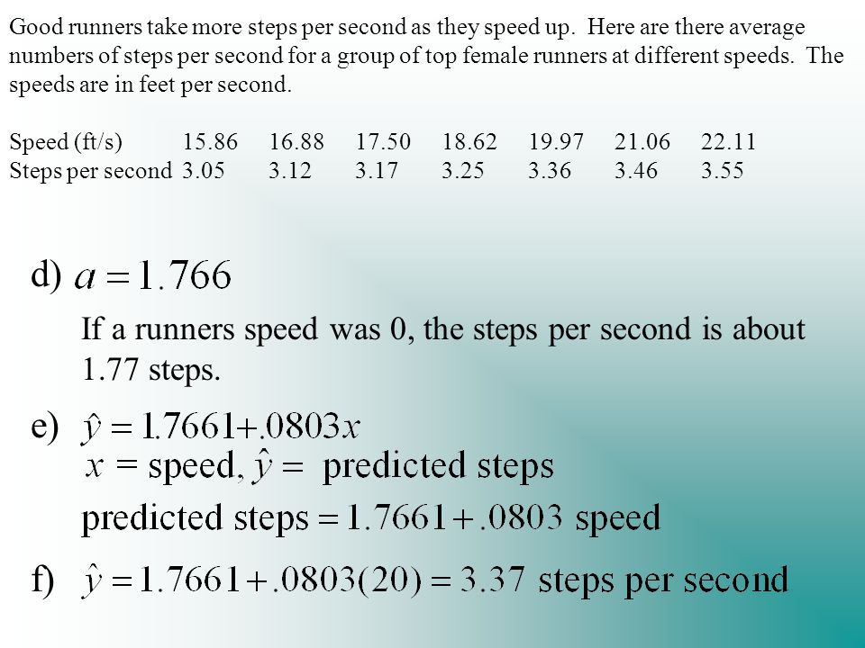 Good runners take more steps per second as they speed up.