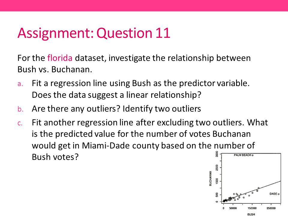 Assignment: Question 11 For the florida dataset, investigate the relationship between Bush vs.