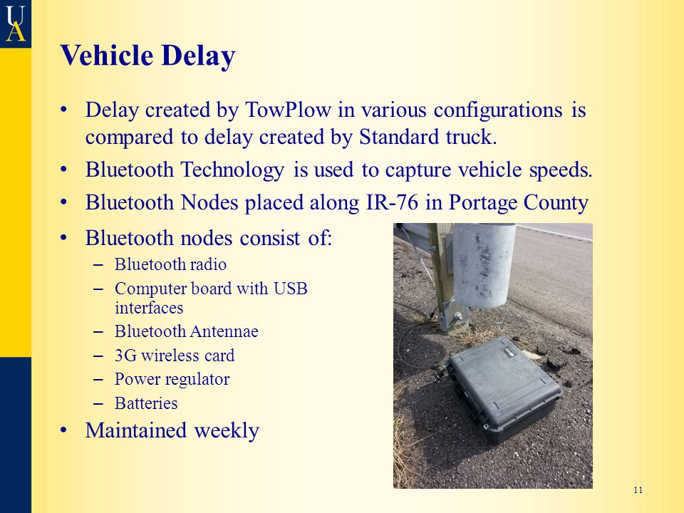 Vehicle Delay Delay created by TowPlow in various configurations is compared to delay created by Standard truck.