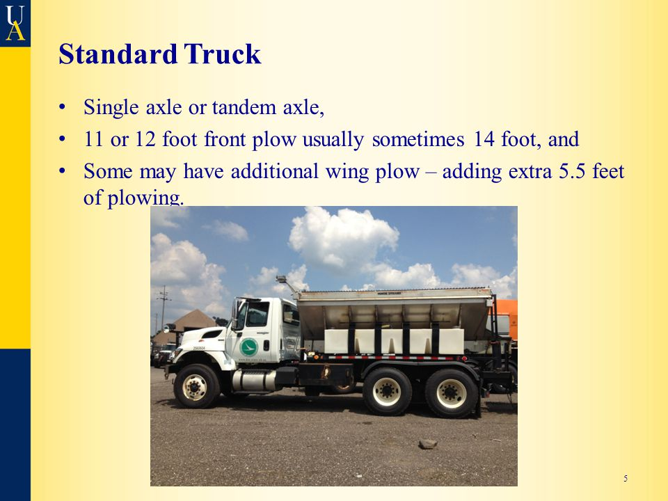 Standard Truck Single axle or tandem axle, 11 or 12 foot front plow usually sometimes 14 foot, and Some may have additional wing plow – adding extra 5.5 feet of plowing.