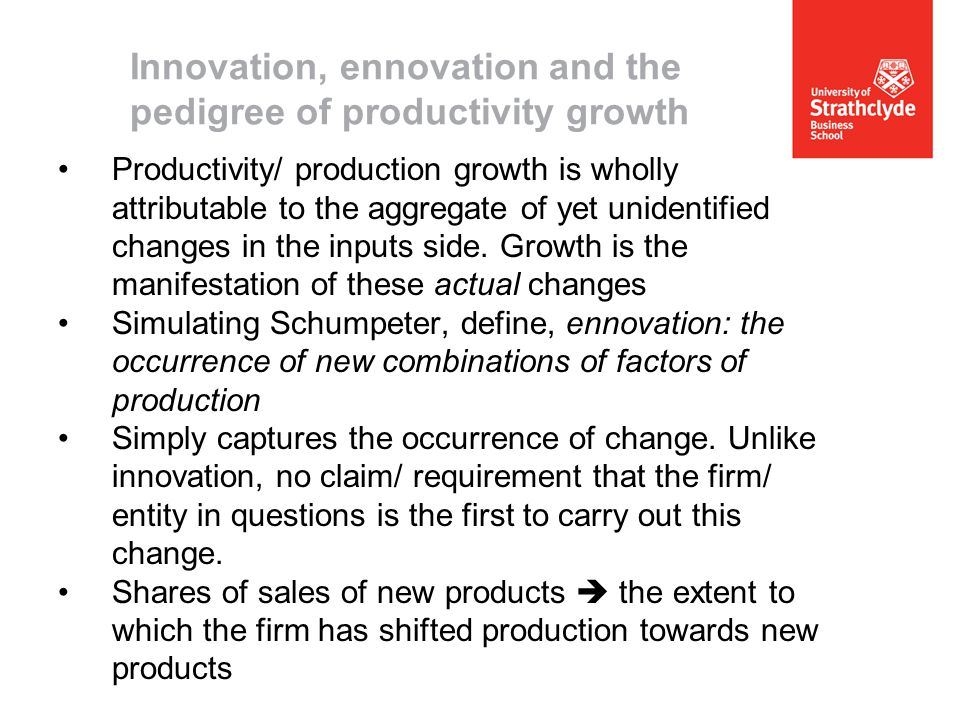 Productivity/ production growth is wholly attributable to the aggregate of yet unidentified changes in the inputs side.