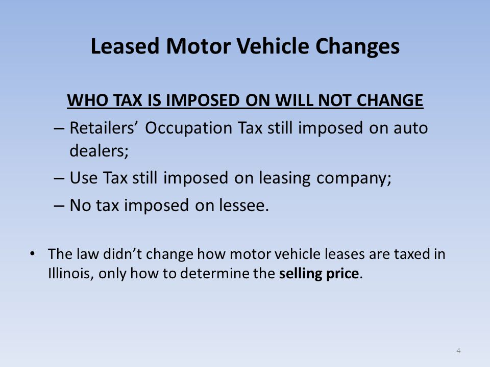 Leased Motor Vehicle Changes You must use this alternate selling price on motor vehicles that qualify, and the following conditions will apply when you use the alternate selling price: – Trade-in credit is not allowed to reduce the selling price.