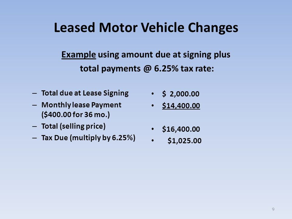 Leased Motor Vehicle Changes Example using amount due at signing plus total payments @ 6.25% tax rate: – Total due at Lease Signing – Monthly lease Payment ($400.00 for 36 mo.) – Total (selling price) – Tax Due (multiply by 6.25%) $ 2,000.00 $14,400.00 $16,400.00 $1,025.00 9