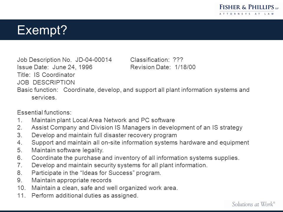 Job Description No. JD-04-00014 Classification: ??.