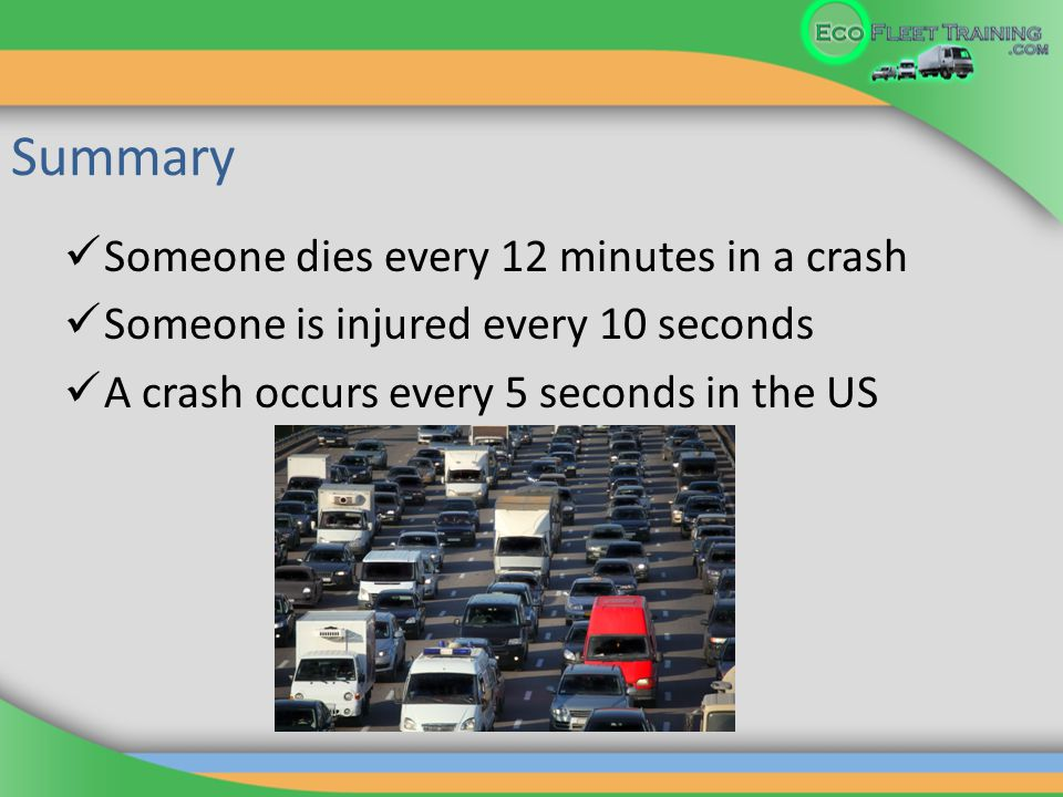 Summary Someone dies every 12 minutes in a crash Someone is injured every 10 seconds A crash occurs every 5 seconds in the US