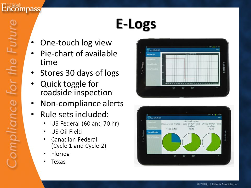 E-Logs One-touch log view Pie-chart of available time Stores 30 days of logs Quick toggle for roadside inspection Non-compliance alerts Rule sets included: US Federal (60 and 70 hr) US Oil Field Canadian Federal (Cycle 1 and Cycle 2) Florida Texas