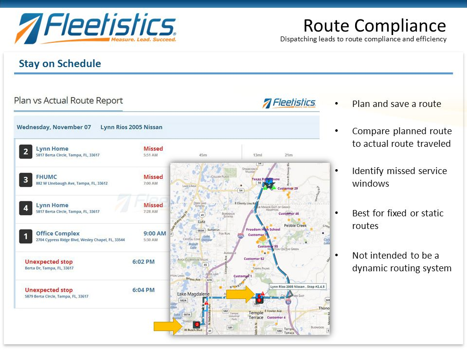 Dispatching leads to route compliance and efficiency Route Compliance Stay on Schedule Plan and save a route Compare planned route to actual route tra