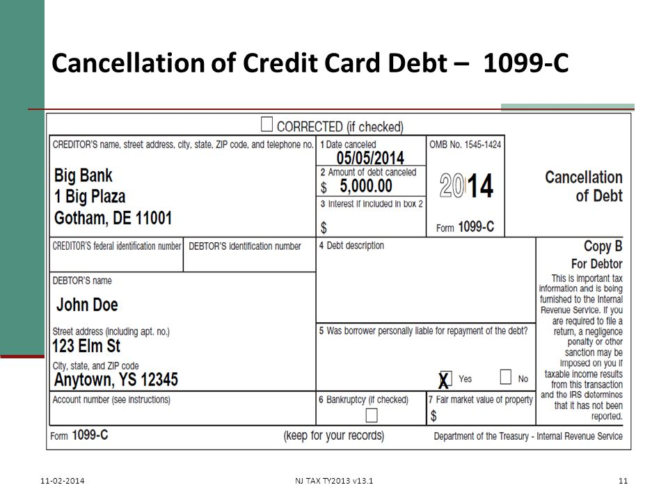 Cancellation of Credit Card Debt – 1099-C 11 11-02-2014NJ TAX TY2013 v13.1