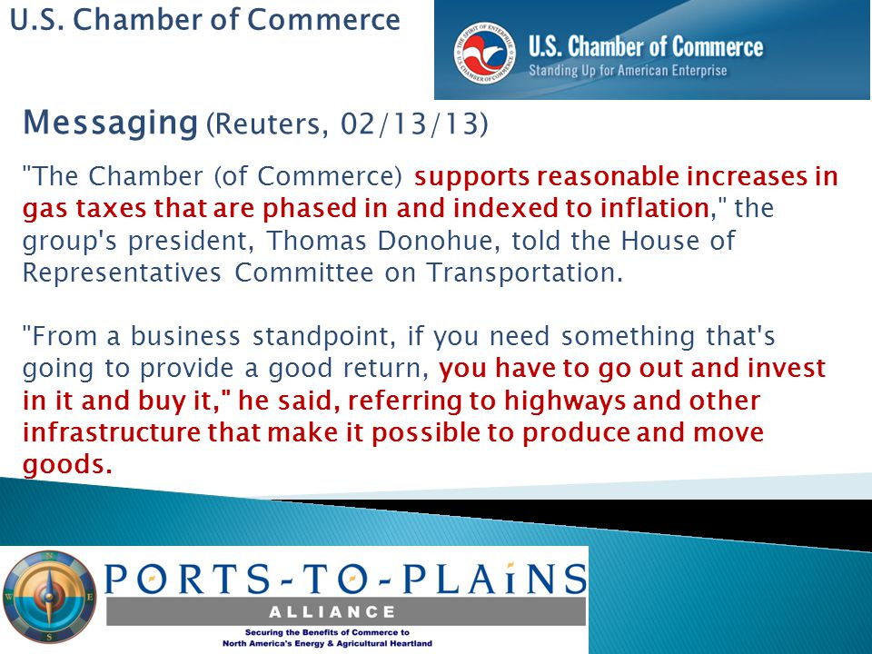 U.S. Chamber of Commerce Messaging (Reuters, 02/13/13)