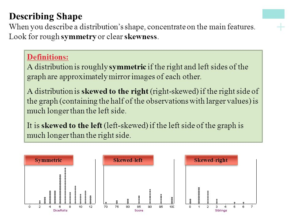 + Describing ShapeWhen you describe a distribution's shape, concentrate on the main features.Look for rough symmetry or clear skewness. Definitions: A