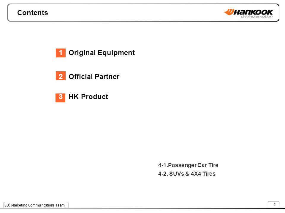EU) Marketing Commuincations Team 2 Contents 1 Original Equipment 2 Official Partner 3 HK Product 4-1.Passenger Car Tire 4-2. SUVs & 4X4 Tires