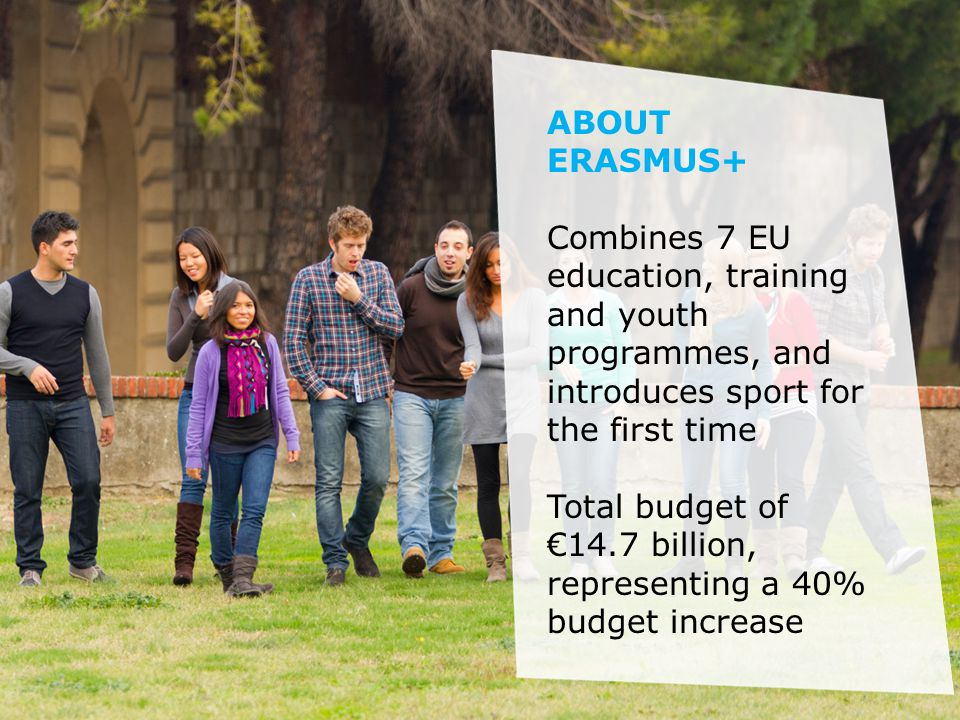 ABOUT ERASMUS+ Combines 7 EU education, training and youth programmes, and introduces sport for the first time Total budget of €14.7 billion, representing a 40% budget increase