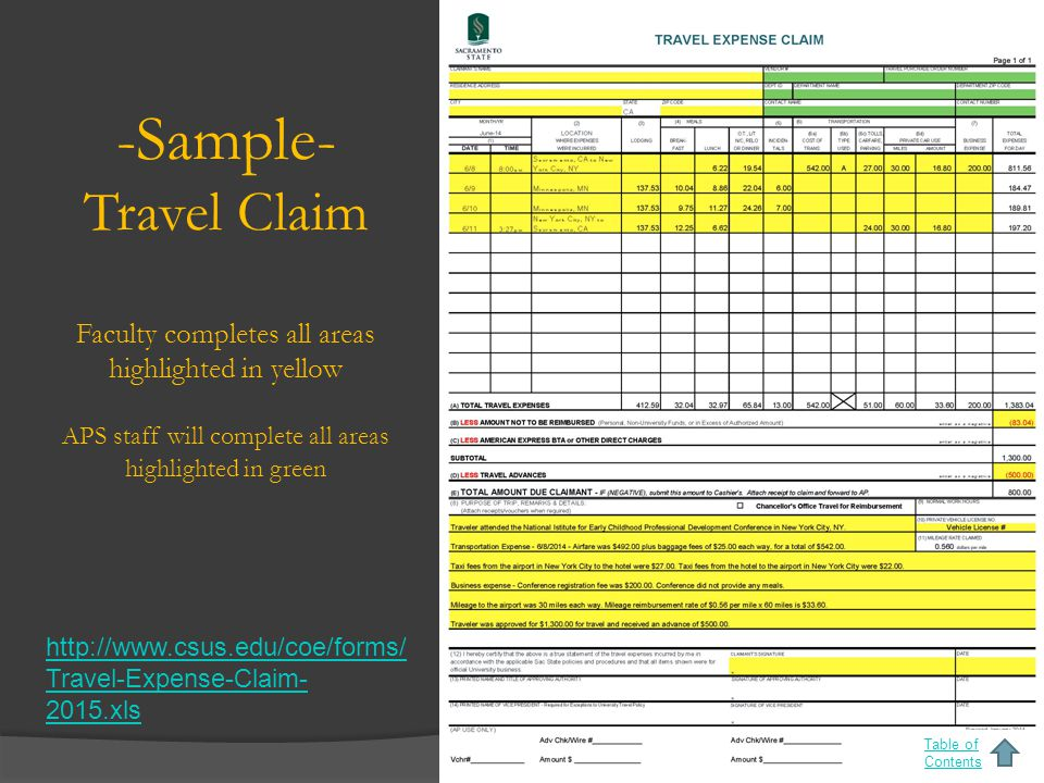 -Sample- Travel Claim Faculty completes all areas highlighted in yellow APS staff will complete all areas highlighted in green Table of Contents http://www.csus.edu/coe/forms/ Travel-Expense-Claim- 2015.xls