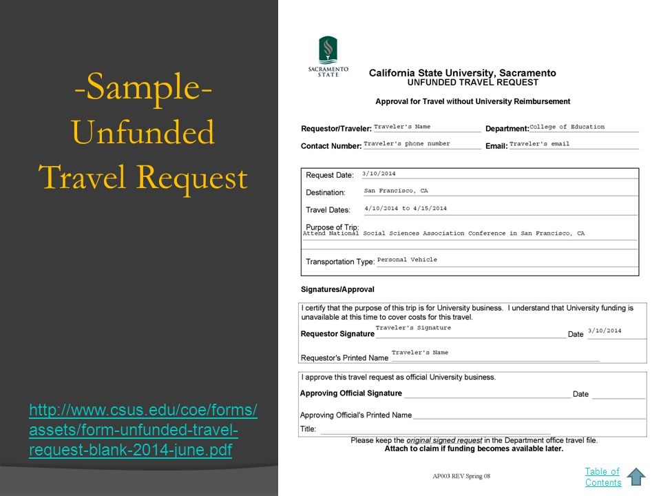 -Sample- Unfunded Travel Request Table of Contents http://www.csus.edu/coe/forms/ assets/form-unfunded-travel- request-blank-2014-june.pdf