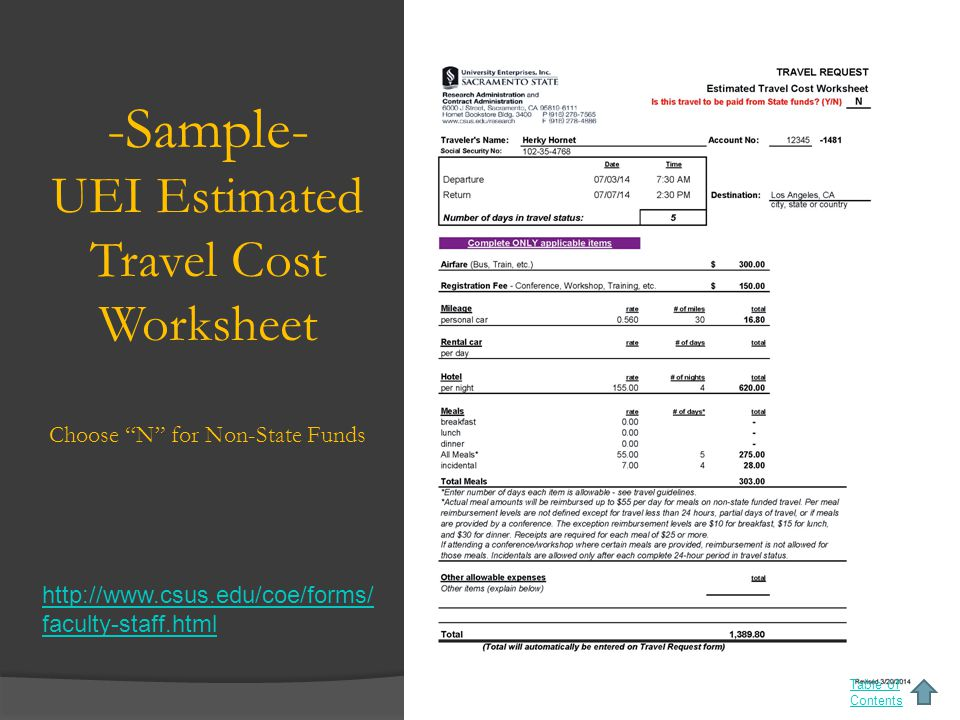 -Sample- UEI Estimated Travel Cost Worksheet Choose N for Non-State Funds Table of Contents http://www.csus.edu/coe/forms/ faculty-staff.html