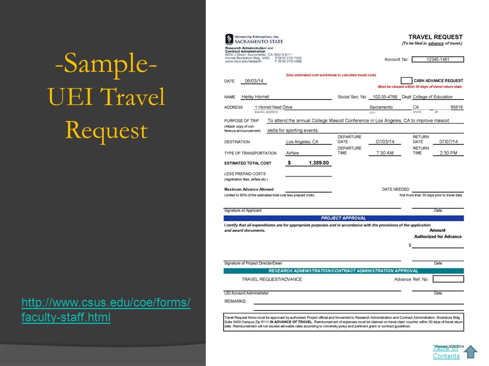 -Sample- UEI Travel Request Table of Contents http://www.csus.edu/coe/forms/ faculty-staff.html