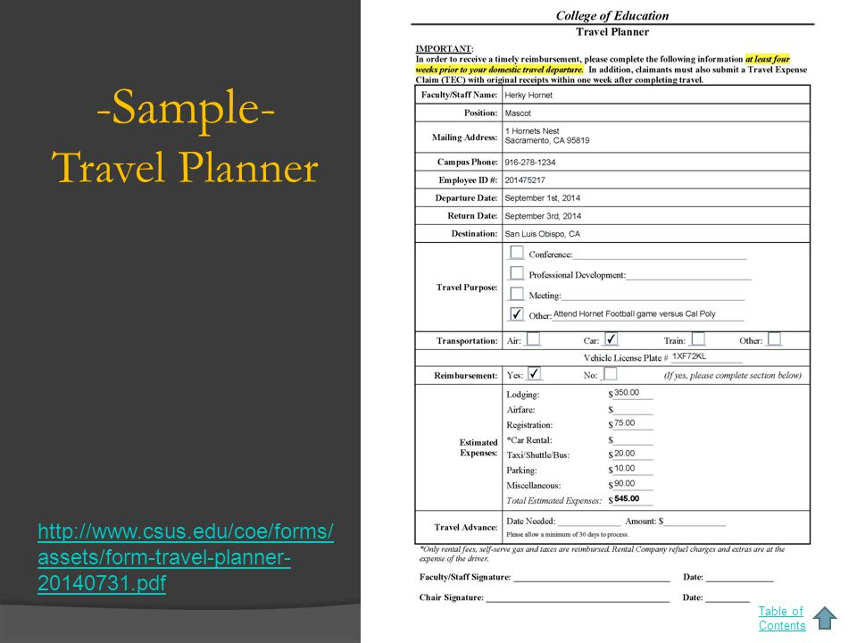 -Sample- Travel Planner Table of Contents http://www.csus.edu/coe/forms/ assets/form-travel-planner- 20140731.pdf