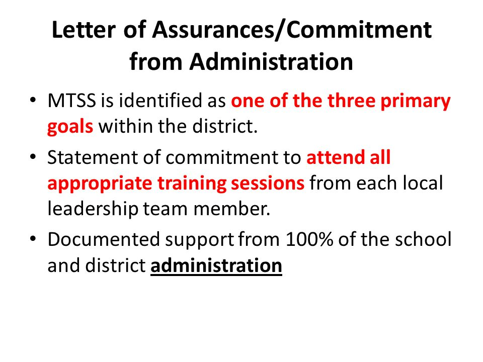 Letter of Assurances/Commitment from Administration MTSS is identified as one of the three primary goals within the district.
