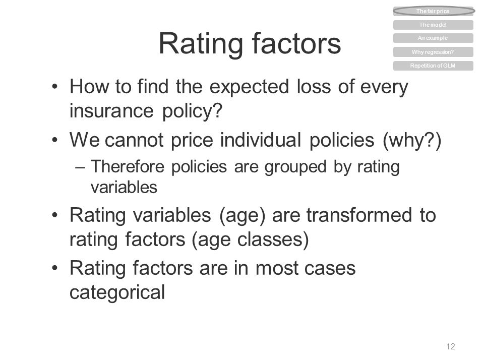 Rating factors How to find the expected loss of every insurance policy? We cannot price individual policies (why?) –Therefore policies are grouped by
