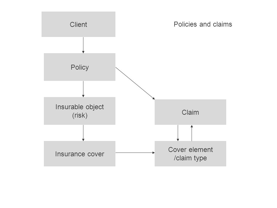Client Policy Insurable object (risk) Insurance cover Cover element /claim type Claim Policies and claims