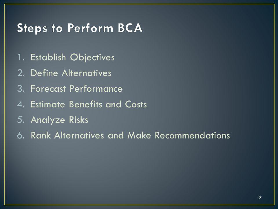 1.Establish Objectives 2.Define Alternatives 3.Forecast Performance 4.Estimate Benefits and Costs 5.Analyze Risks 6.Rank Alternatives and Make Recommendations 7