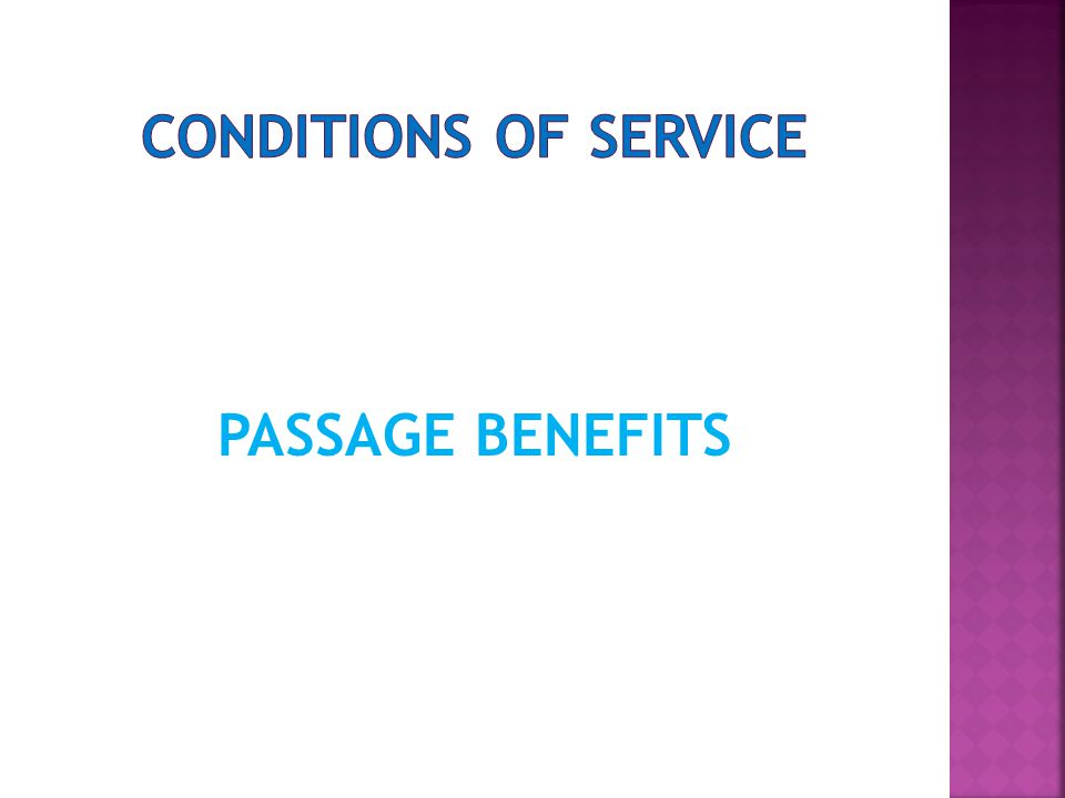 PASSAGE BENEFITS