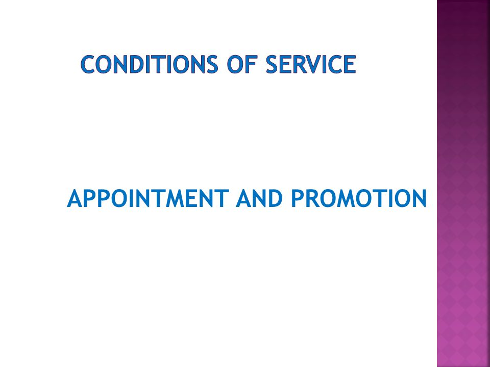 APPOINTMENT AND PROMOTION