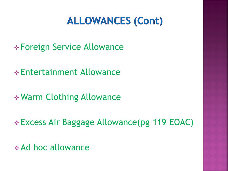  Foreign Service Allowance  Entertainment Allowance  Warm Clothing Allowance  Excess Air Baggage Allowance(pg 119 EOAC)  Ad hoc allowance