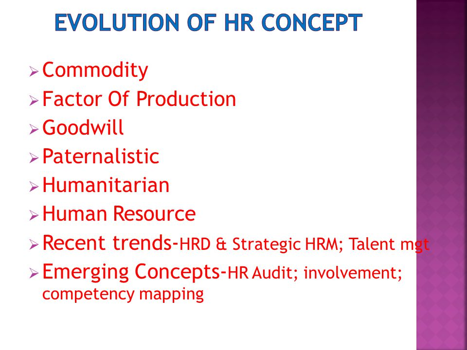  Commodity  Factor Of Production  Goodwill  Paternalistic  Humanitarian  Human Resource  Recent trends- HRD & Strategic HRM; Talent mgt  Emerging Concepts- HR Audit; involvement; competency mapping