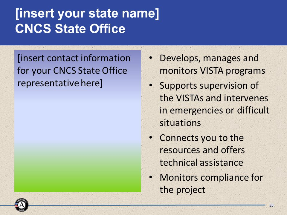 [insert your state name] CNCS State Office [insert contact information for your CNCS State Office representative here] Develops, manages and monitors VISTA programs Supports supervision of the VISTAs and intervenes in emergencies or difficult situations Connects you to the resources and offers technical assistance Monitors compliance for the project 20