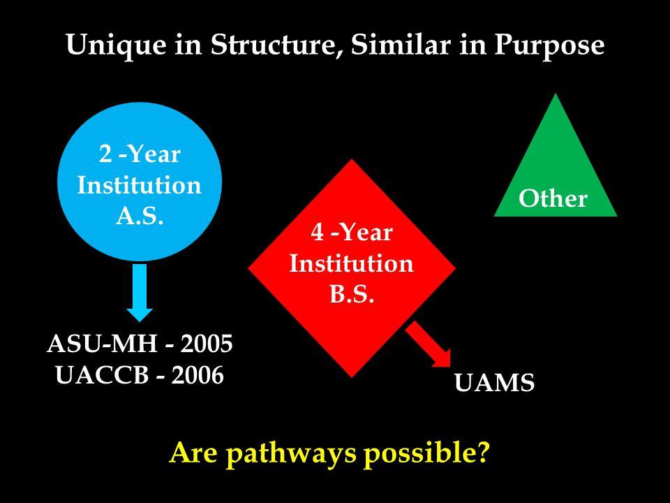 Unique in Structure, Similar in Purpose 4 -Year Institution B.S.