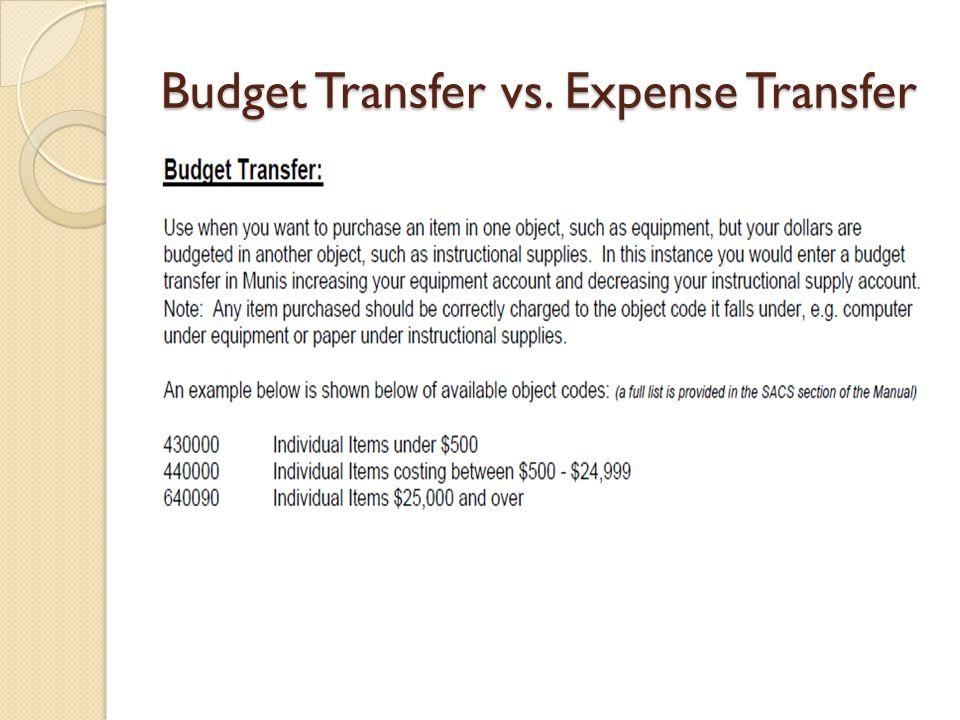 Budget Transfer vs. Expense Transfer