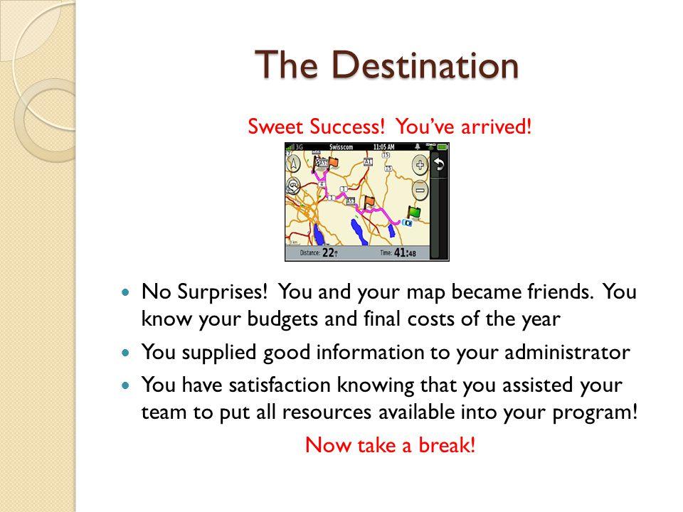 The Destination Sweet Success.You've arrived. No Surprises.