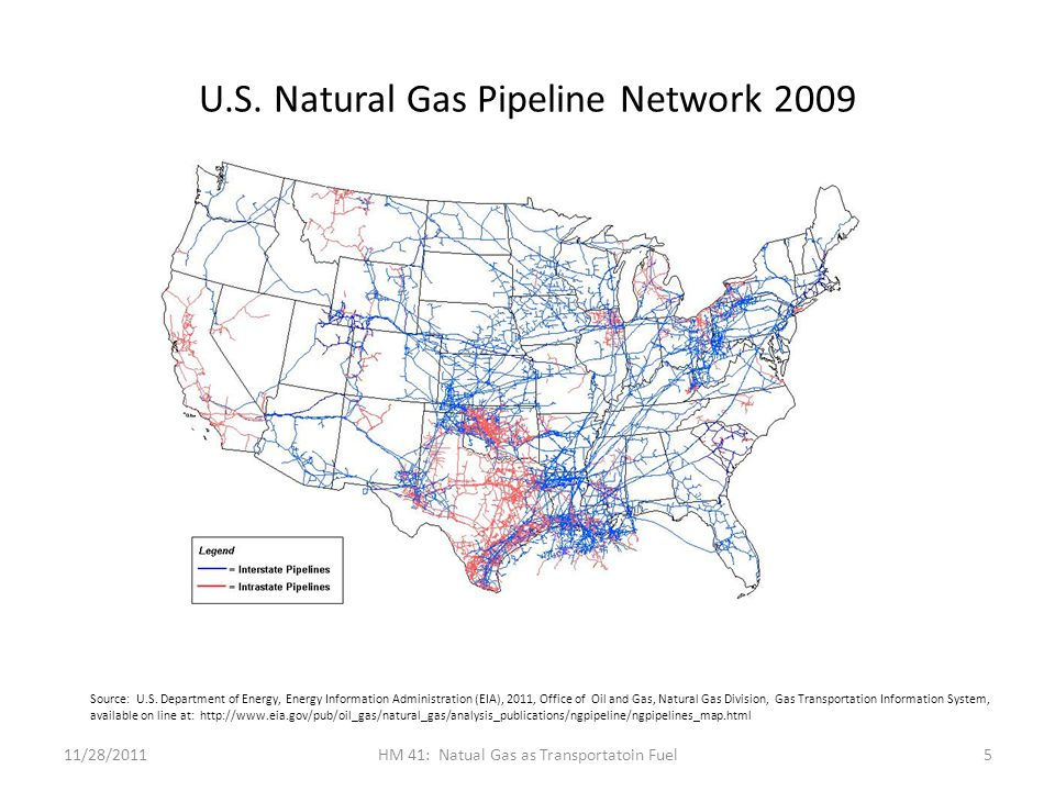 U.S. Natural Gas Pipeline Network 2009 11/28/2011HM 41: Natual Gas as Transportatoin Fuel5 Source: U.S. Department of Energy, Energy Information Admin