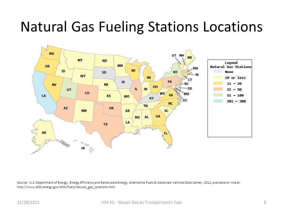 Natural Gas Fueling Stations Locations 11/28/2011HM 41: Natual Gas as Transportatoin Fuel8 Source: U.S.
