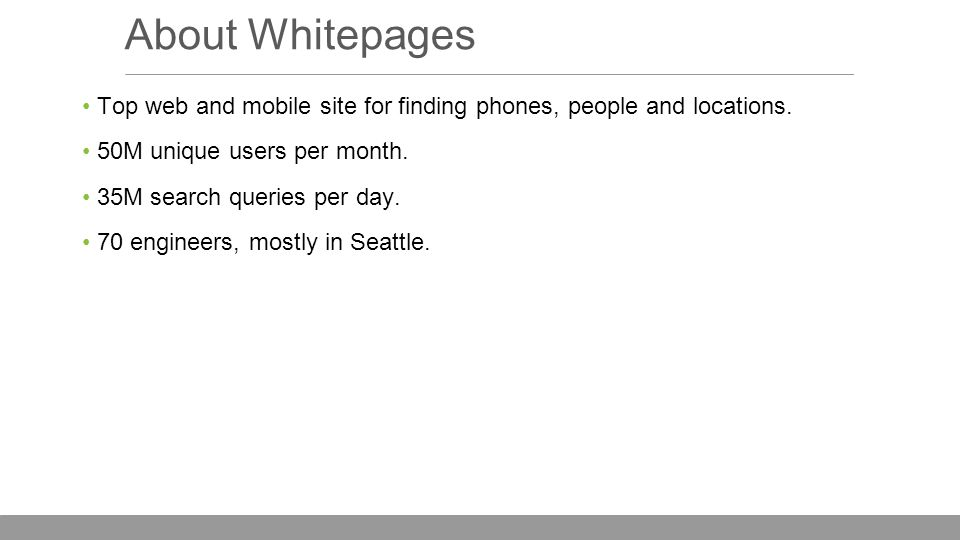 About Whitepages Top web and mobile site for finding phones, people and locations.