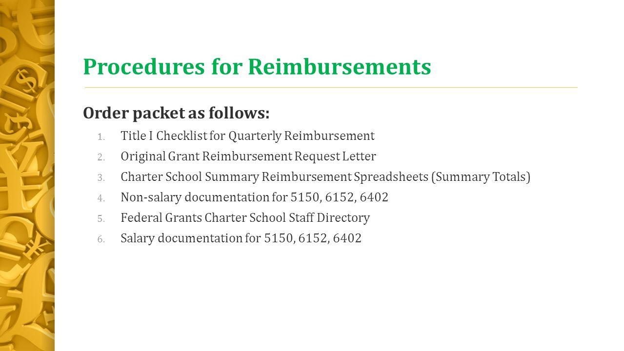 Procedures for Reimbursements Order packet as follows: 1.