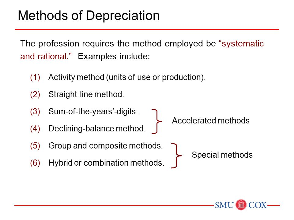 """The profession requires the method employed be """"systematic and rational."""" Examples include: (1)Activity method (units of use or production). (2)Straig"""