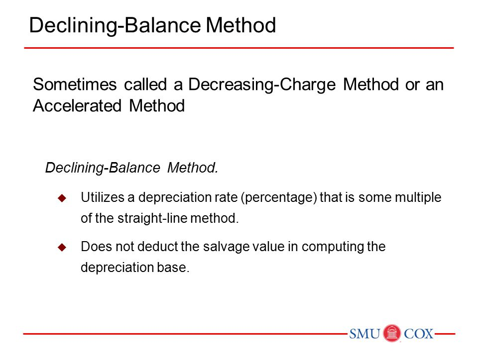 Sometimes called a Decreasing-Charge Method or an Accelerated Method Declining-Balance Method.  Utilizes a depreciation rate (percentage) that is som