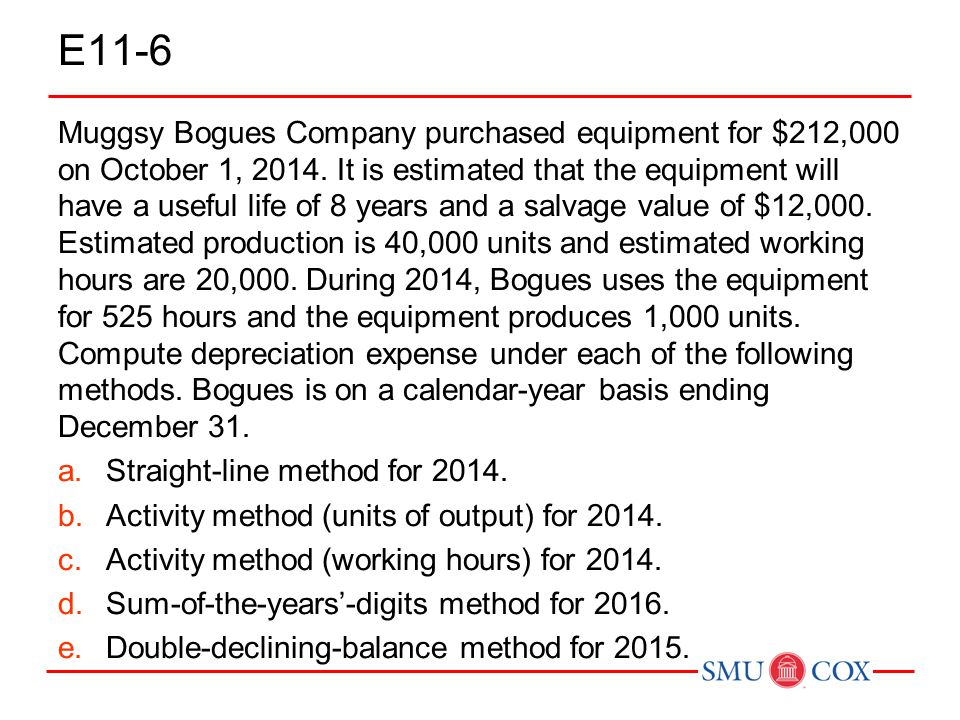 E11-6 Muggsy Bogues Company purchased equipment for $212,000 on October 1, 2014. It is estimated that the equipment will have a useful life of 8 years
